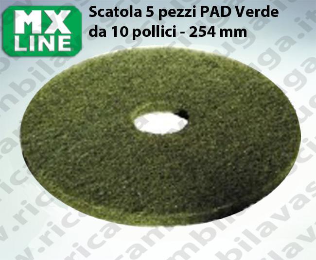 PAD MAXICLEAN 5 PIECES couleur VERT de 10 pouce - 254 mm   MX LINE