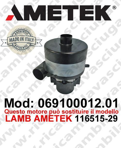 MOTEUR ASPIRATION 069100012.01 AMETEK ITALIA pour autolaveuses il peux remplacer la reference LAMB AMETEK 116515-29