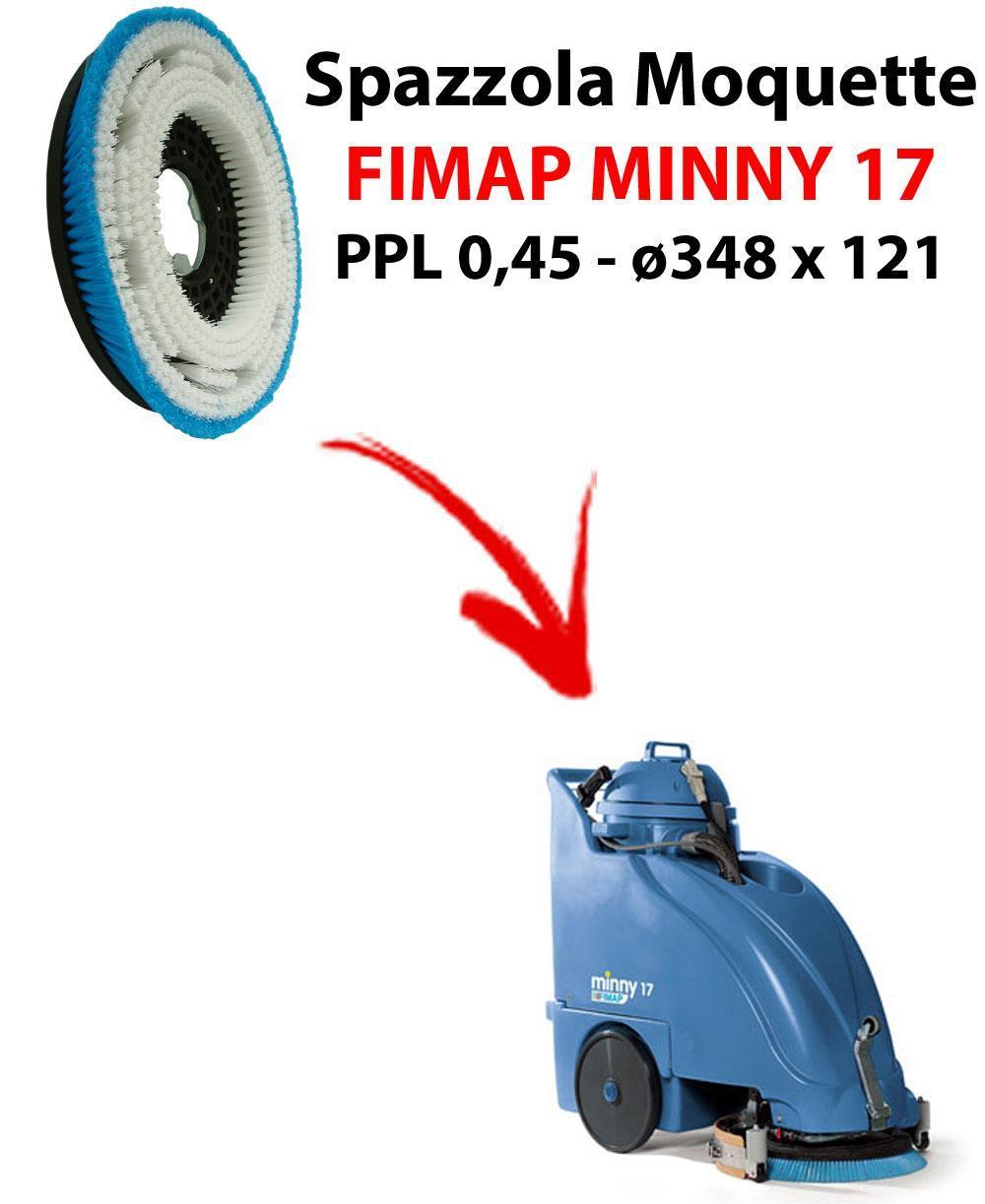 BROSSE MOQUETTE  pour autolaveuses FIMAP MINNY 17. Reference: PPL 0,45 C/FLANGIA diamétre 348 X 121