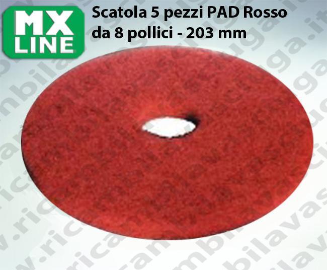 PAD MAXICLEAN 5 PIECES couleur ROUGE de 8 pouce - 203 mm | MX LINE