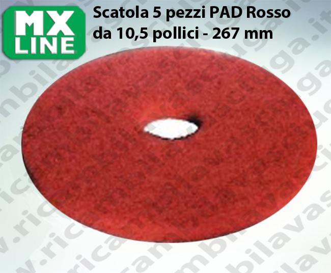 PAD MAXICLEAN 5 PIECES couleur ROUGE da 10,5 pouce - 267 mm | MX LINE