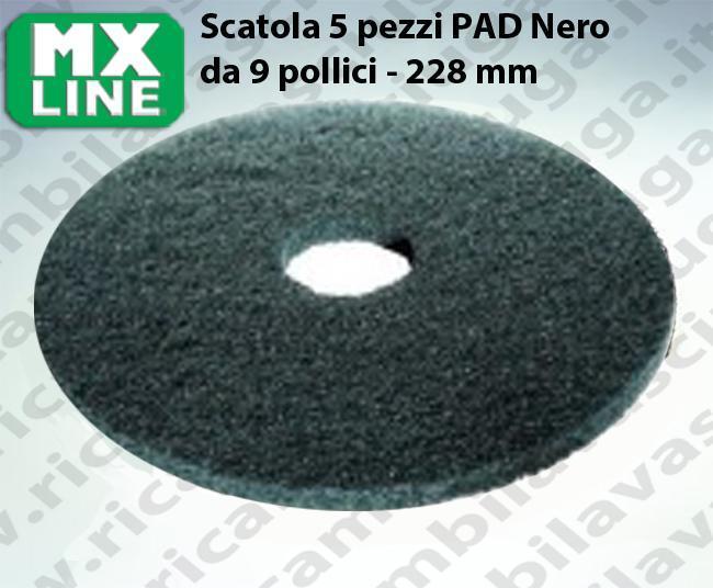 PAD MAXICLEAN 5 PIECES couleur NOIR de 9 pouce - 228 mm | MX LINE