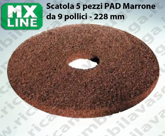 PAD MAXICLEAN 5 PIECES couleur MARRON de 9 pouce - 228 mm | MX LINE