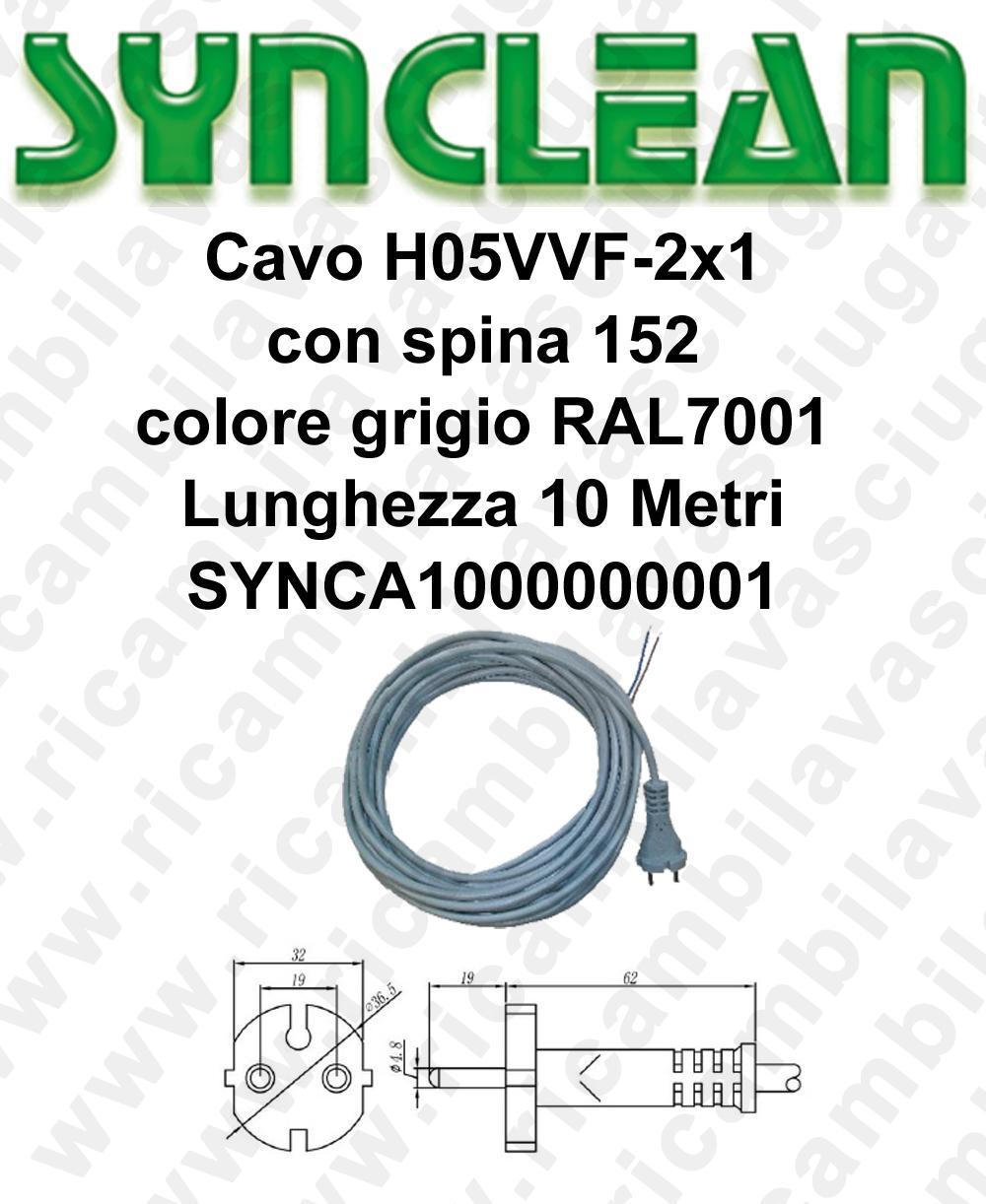 SYNCA1000000001 Kabel H05VVF 2 x 1 mit Stecker 152 grau Lange 10 Meter für Staubsauger