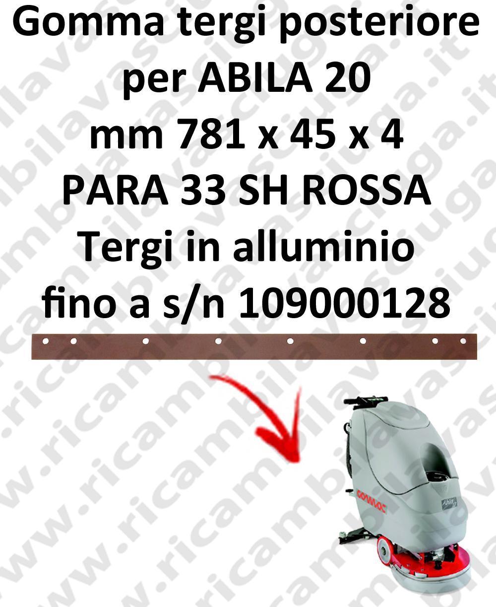 ABILA 20 jusqu'à numéro de série 109000128 BAVETTE ARRIERE pour COMAC rechange autolaveuses suceur, suceur aluminium