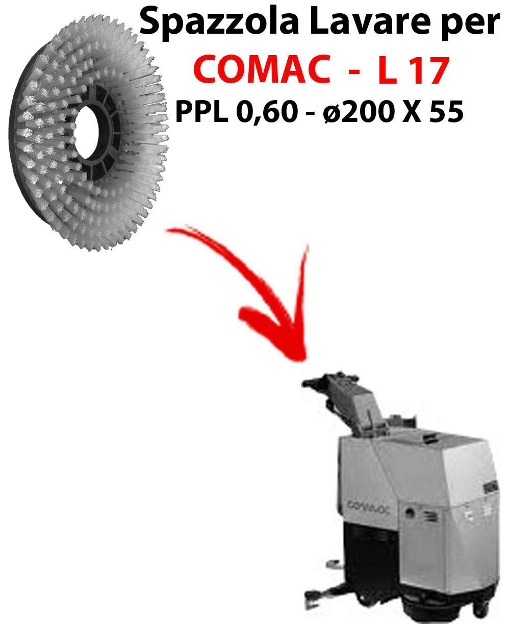 BROSSE A LAVER pour autolaveuses COMAC L 17 . Reference: PPL 0,6 - diamétre 200 X 55 mm -  SPECIAL BRUSH L17