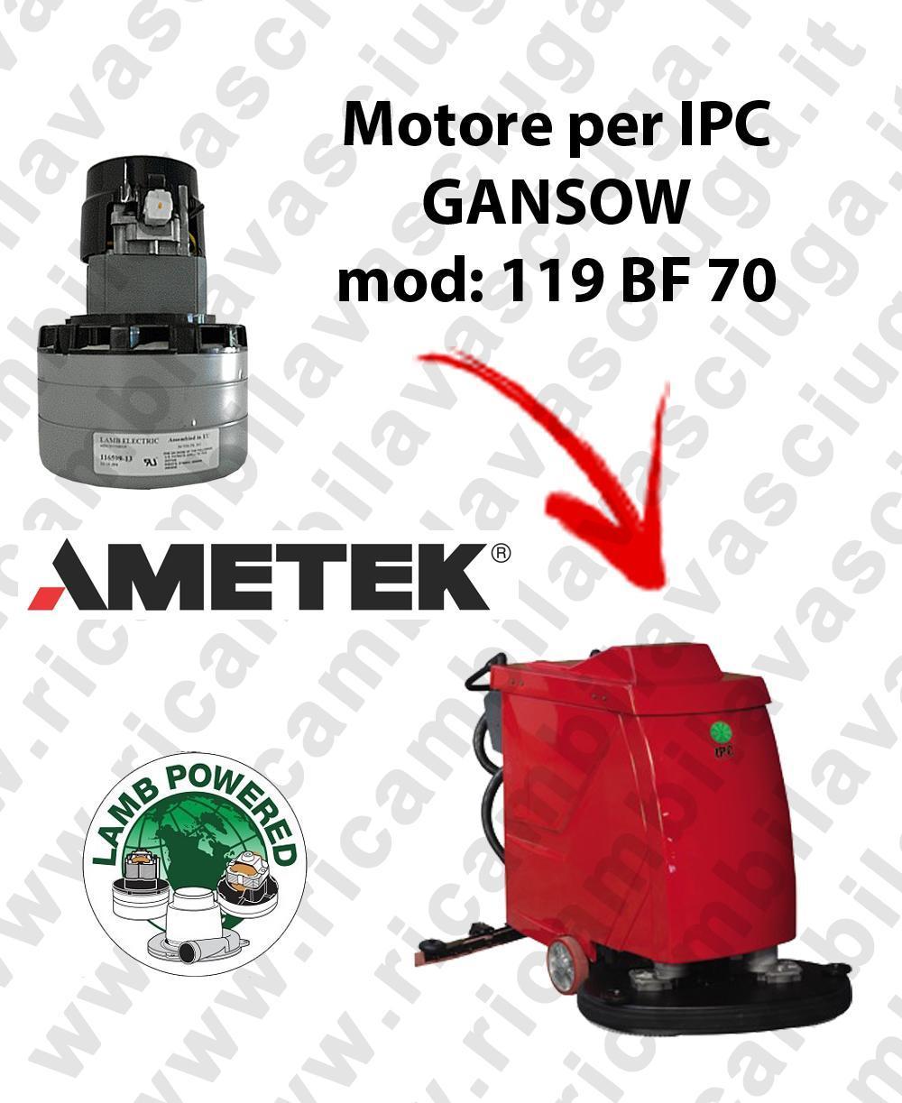 119 BF 70 MOTEUR ASPIRATION LAMB AMATEK pour autolaveuses IPC GANSOW
