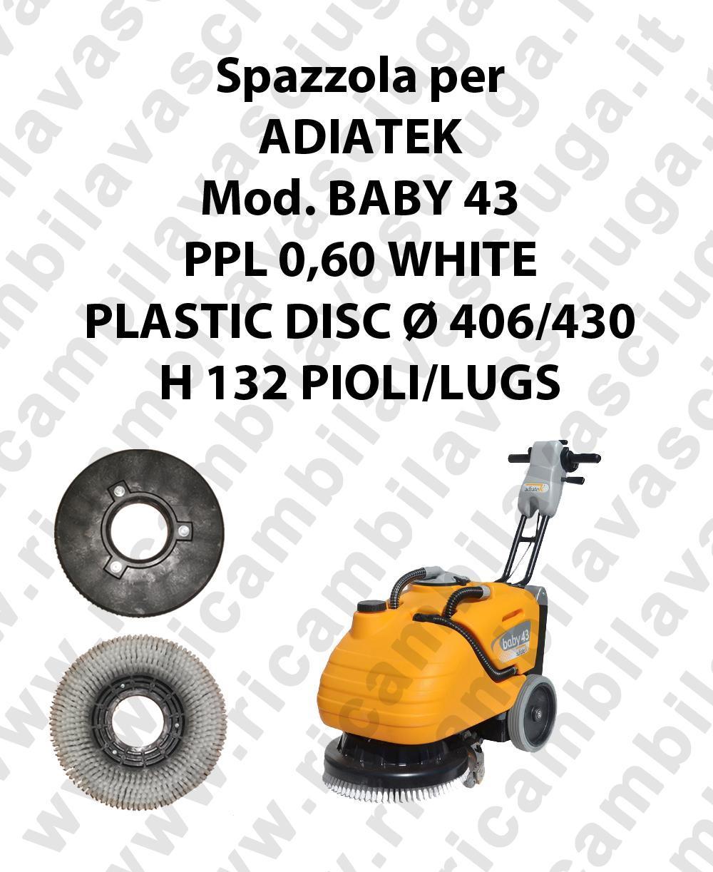 BROSSE A LAVER PPL 0,60 WHITE pour autolaveuses ADIATEK Reference BABY 43