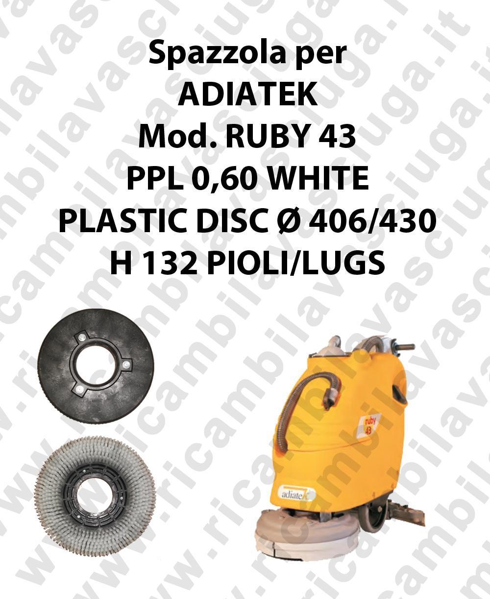 BROSSE A LAVER PPL 0,60 WHITE pour autolaveuses ADIATEK Reference RUBY 43