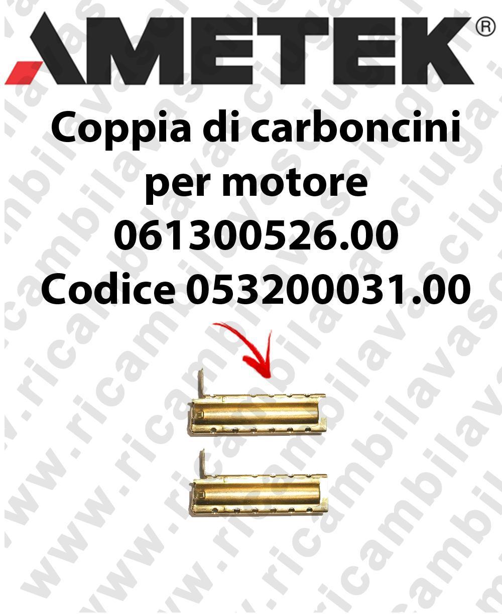 Couple du Carbon MOTEUR ASPIRATION pour MOTEUR  Ametek 061300526.00 Cod: 053200031.00
