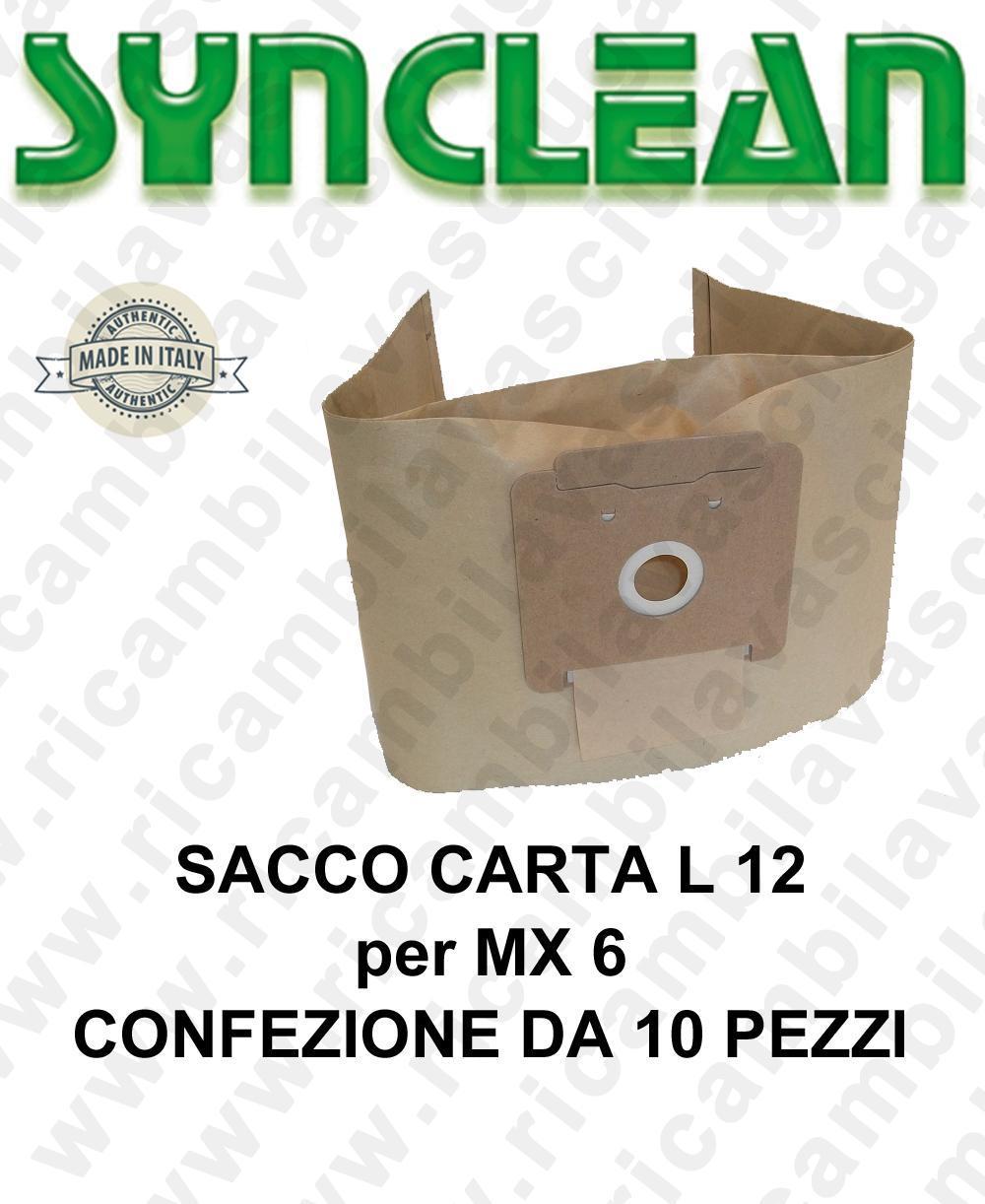 SAC papier litres 12 pour MAXICLEAN mod. MX 6 confezione de 10 piéces
