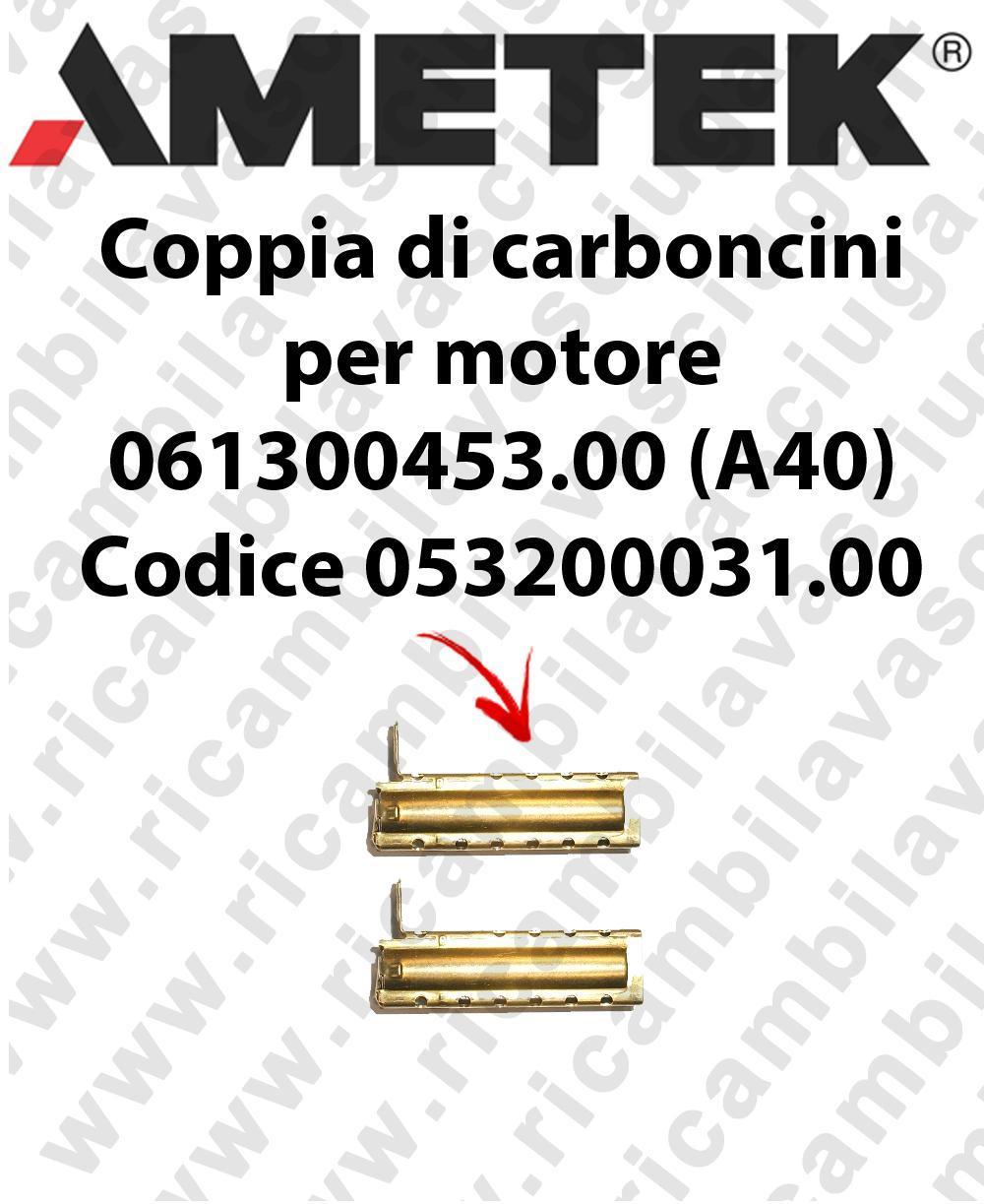 Couple du Carbon moteur aspiration pour moteur Ametek 061300453.00 (A40) Cod: 053200031.00