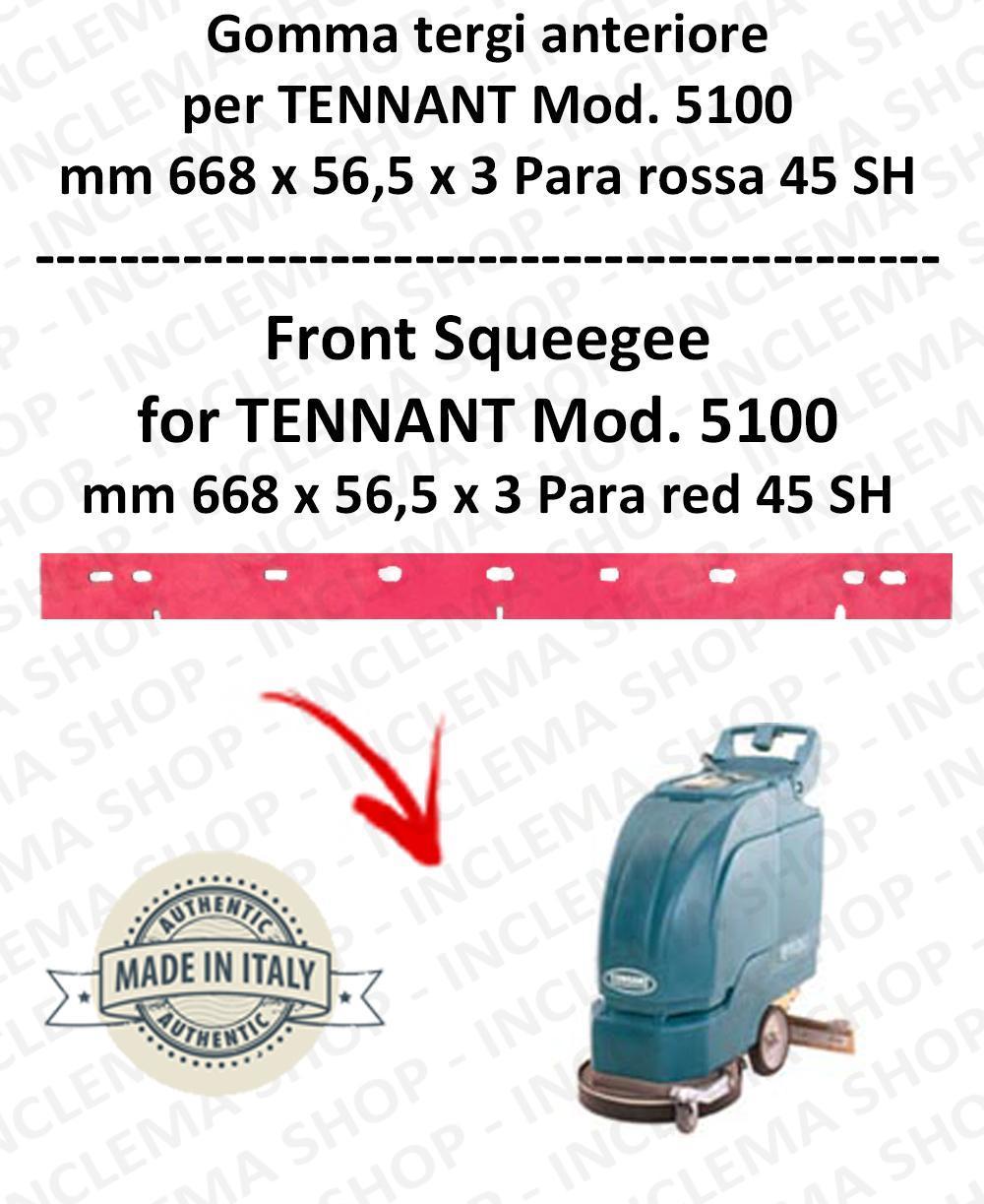 5100 Bavette avant PARA Rouge pour autolaveuses TENNANT 45 SH