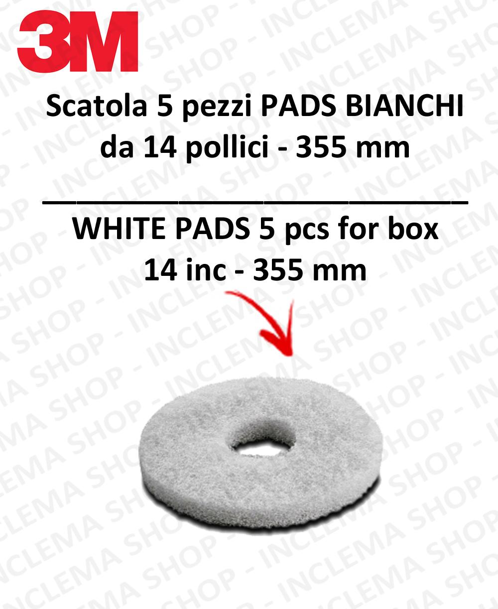 PAD 3M 5 PEZZI Bianco da 14 pollici  355 mm per lavapavimenti e monospazzole
