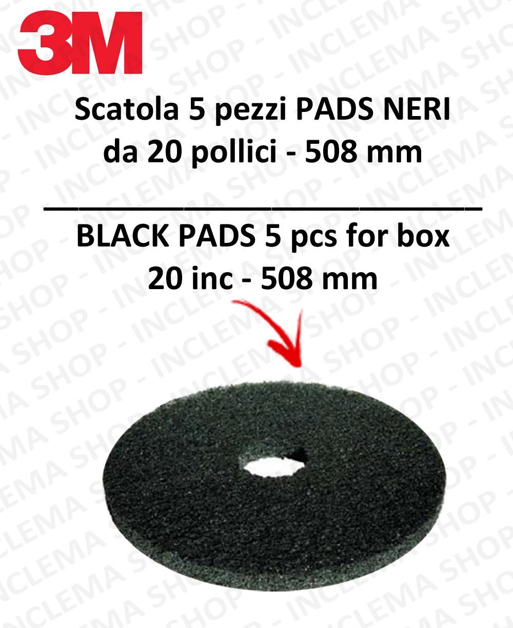 PAD 3M 5 PEZZI color Nero da 20 pollici  508 mm lavapavimenti e monospazzole
