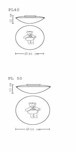 Plafoniera bambini WINNY-DOLLY coppia orsetti cm40 E27 LED