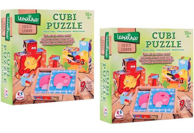 PUZZLE CUBI IN LEGNO 9PZ 12,5X12,5X4,5CM 2ASS 37841 GLOBO