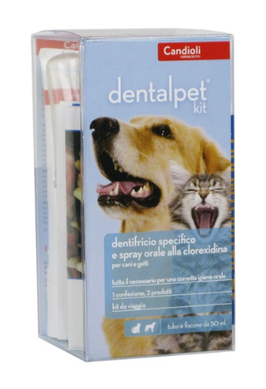 DENTALPET KIT CON DENTIFRICIO, SPRAY E DITALE PER L'IGIENE QUOTIDIANA DI CANI E GATTI
