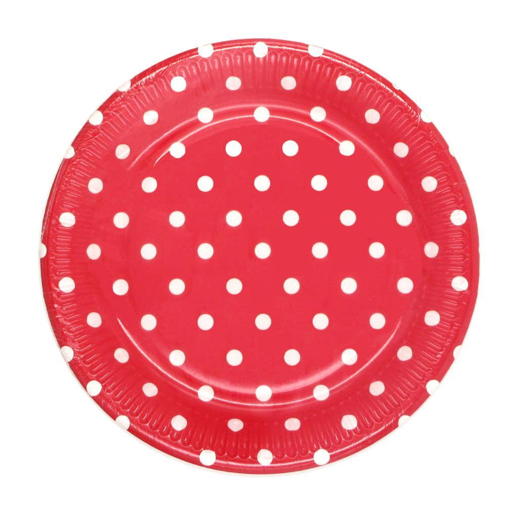 Piatti in cartoncino Rosso a pois cm. 23