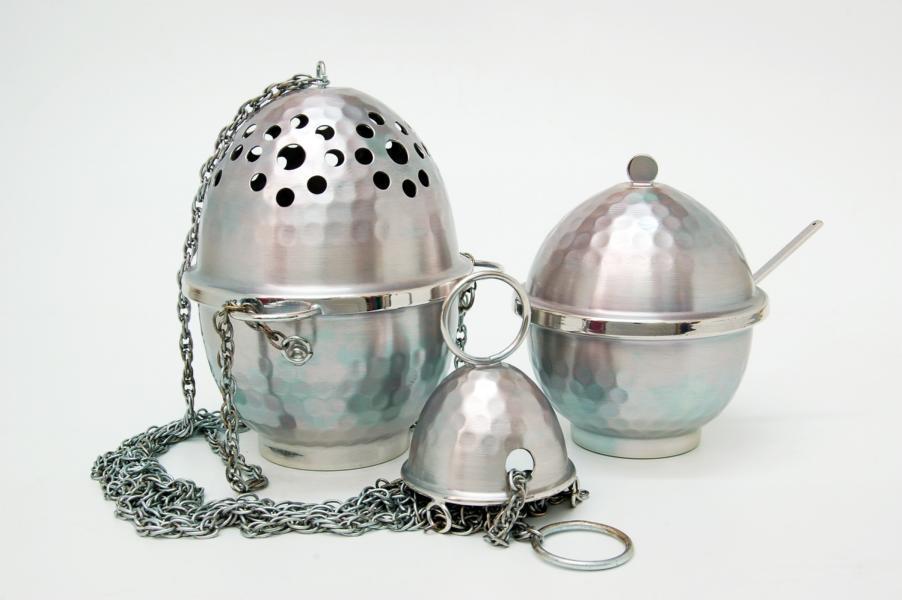 Turibolo in metallo argentato con navicella FRA390