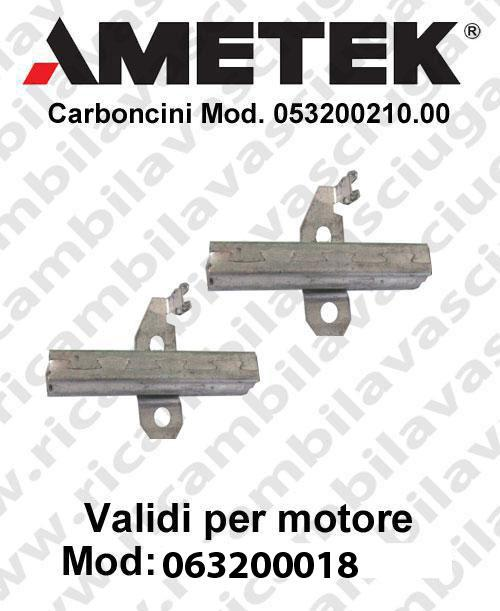 Couple du Carbon moteur aspiration pour motori Ametek  063200018 -  2 x Cod: 053200210.00-2