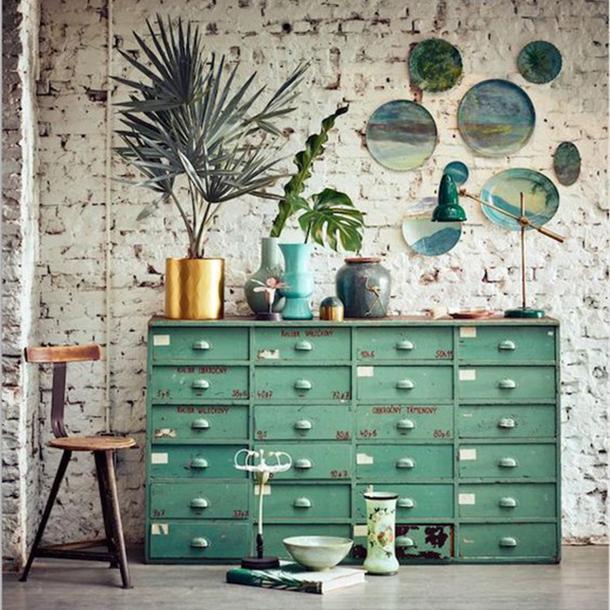 cassettiera in metallo verde