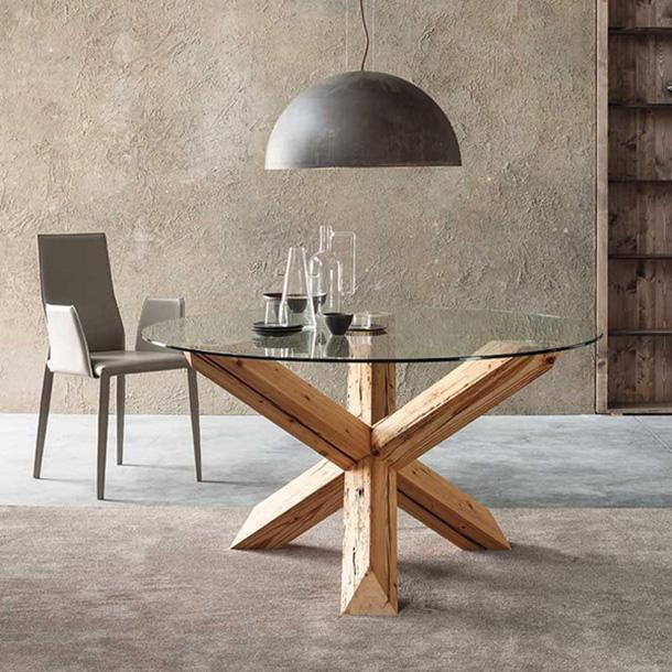 tavolo legno grezzo con incrocio a x
