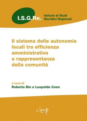 Il sistema delle autonomie locali tra efficienza amministrativa e rappresentanza della comunità