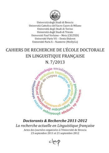 Cahiers de recherche de l'Ecole doctorale en linguistique française N. 7/2013