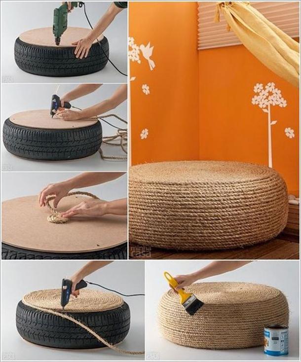 pouf realizzato recurando un vecchio pneumatico