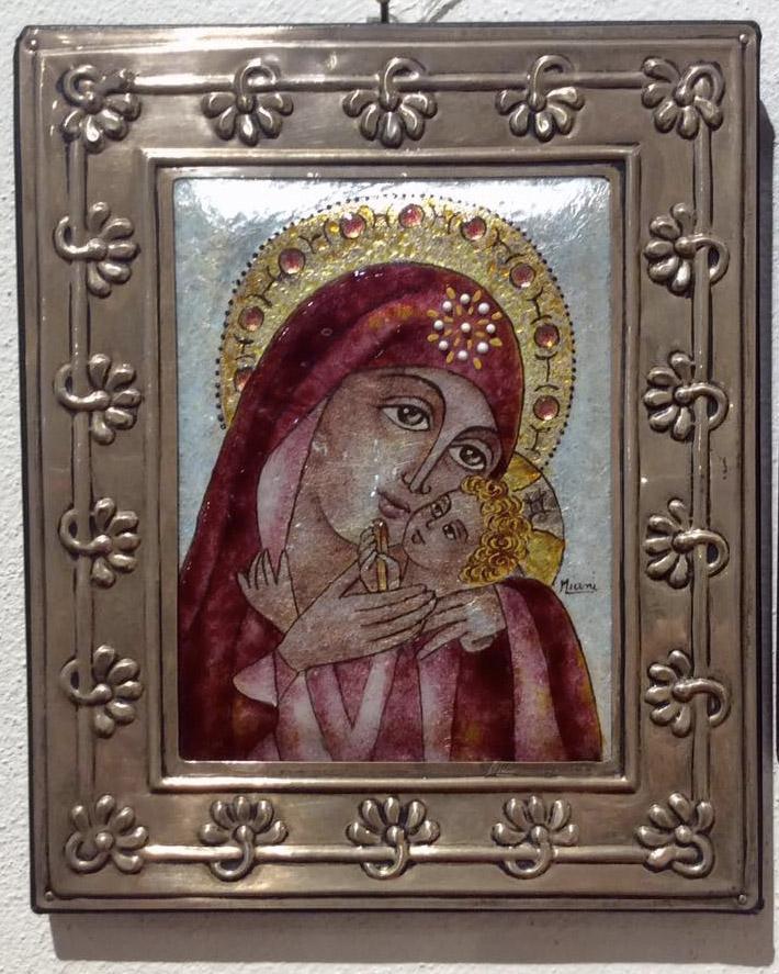 Icona Madonna con bambino in argento e smalto a gran fuoco