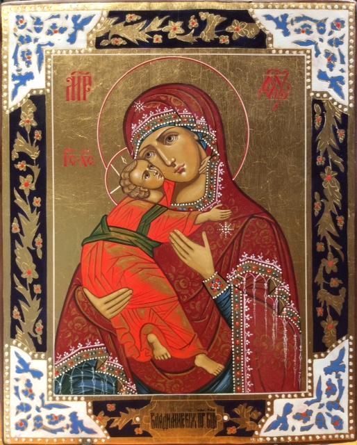 Icona russa dipinta Madonna della tenerezza 32x26 cm