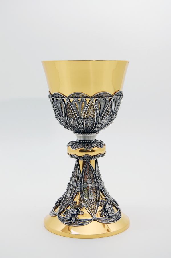 Calice in argento dorato e filigrana