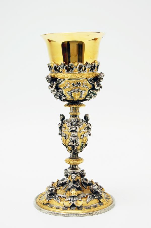 Calice coppa argento decorazione bicolore LOS131