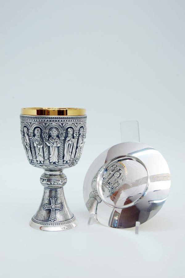 Calice coppa argento con patena MOLACE2378 Romanico