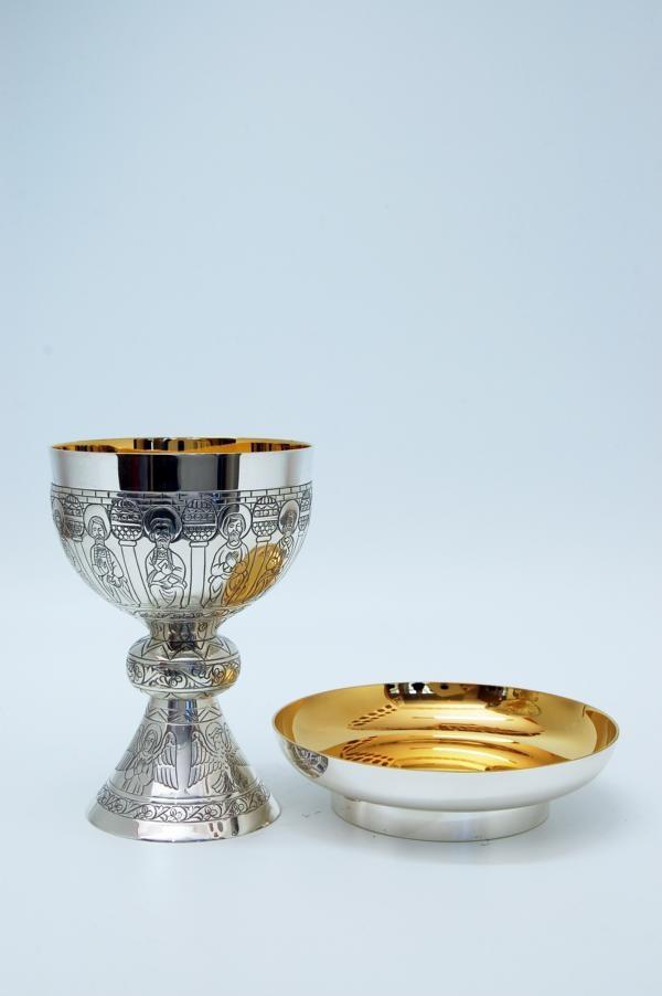Calice coppa argento con patena MOLACE2722 Romanico