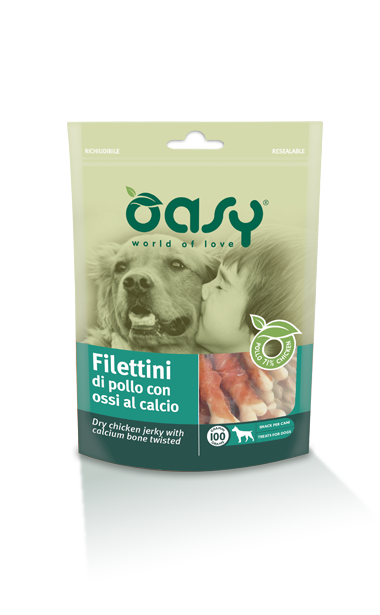 SNACK OASY OSSA DI CALCIO CON FILETTINI DI POLLO 100 G