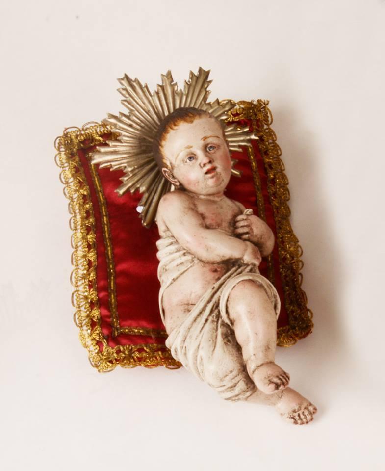 Bambinello in Legno Artigianato Napoletano Paolo Fattore 16 cm