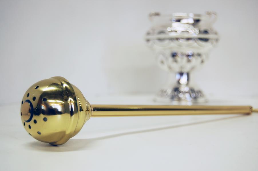 Aspersorio in ottone dorato 30 cm
