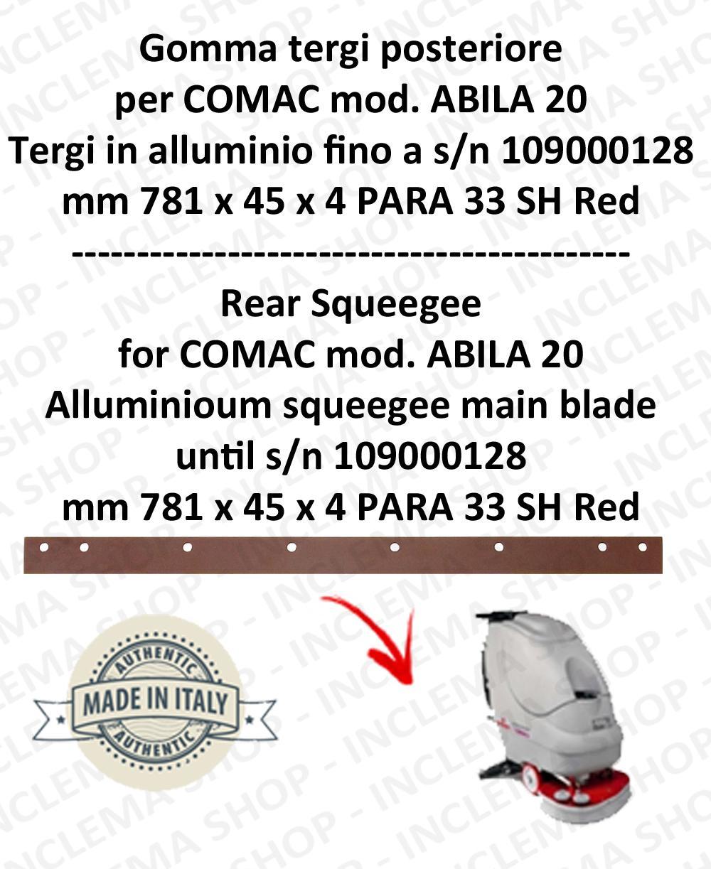 Gomma tergipavimento posteriore per lavapavimenti COMAC ABILA 20 tergi in alluminio fino a s/n 109000128