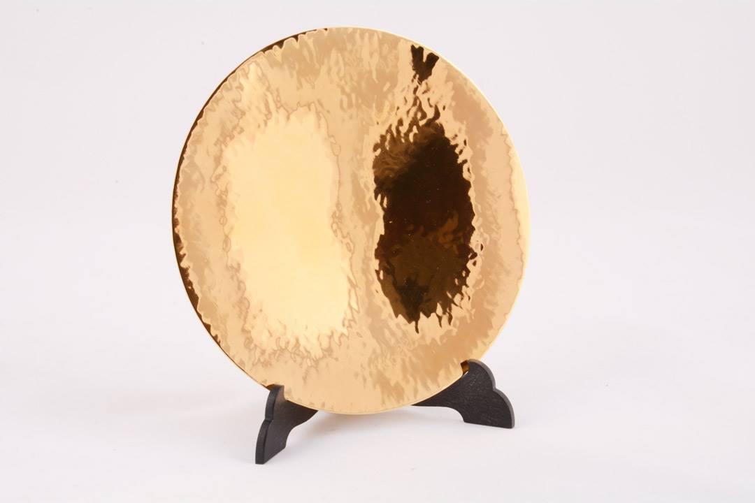 Patena in argento dorato martellata 14,5 x 14,5 cm FEL1311