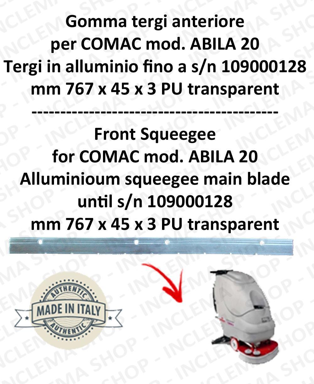 Bavette avant pour autolaveuses COMAC ABILA 20 suceur en aluminium jusqu'au numéro de série 109000128