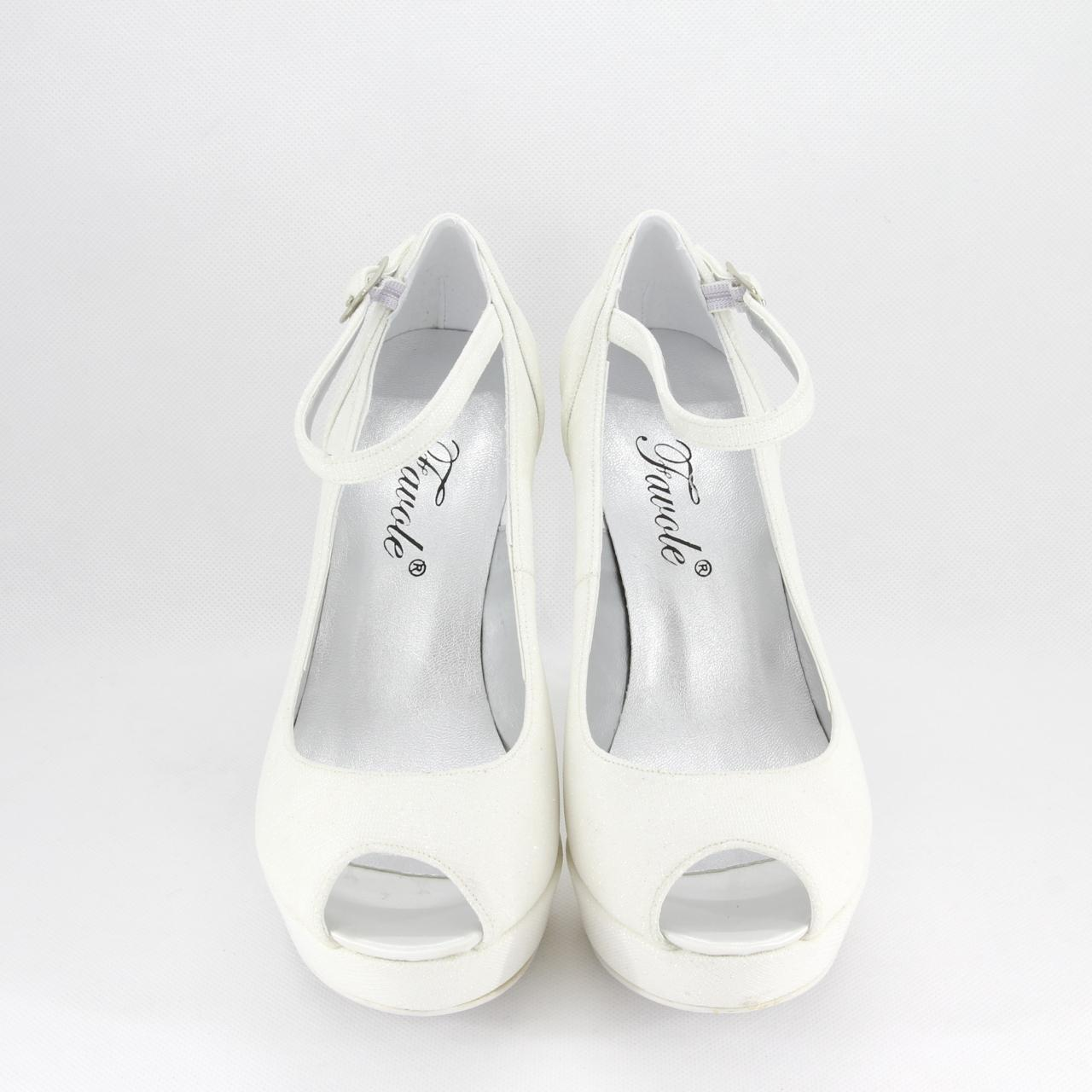 Décolleté donna elegante da cerimonia in tessuto glitter bianco con cinghietta regolabile alla caviglia  Art.MARTA Gi. Effe Ci
