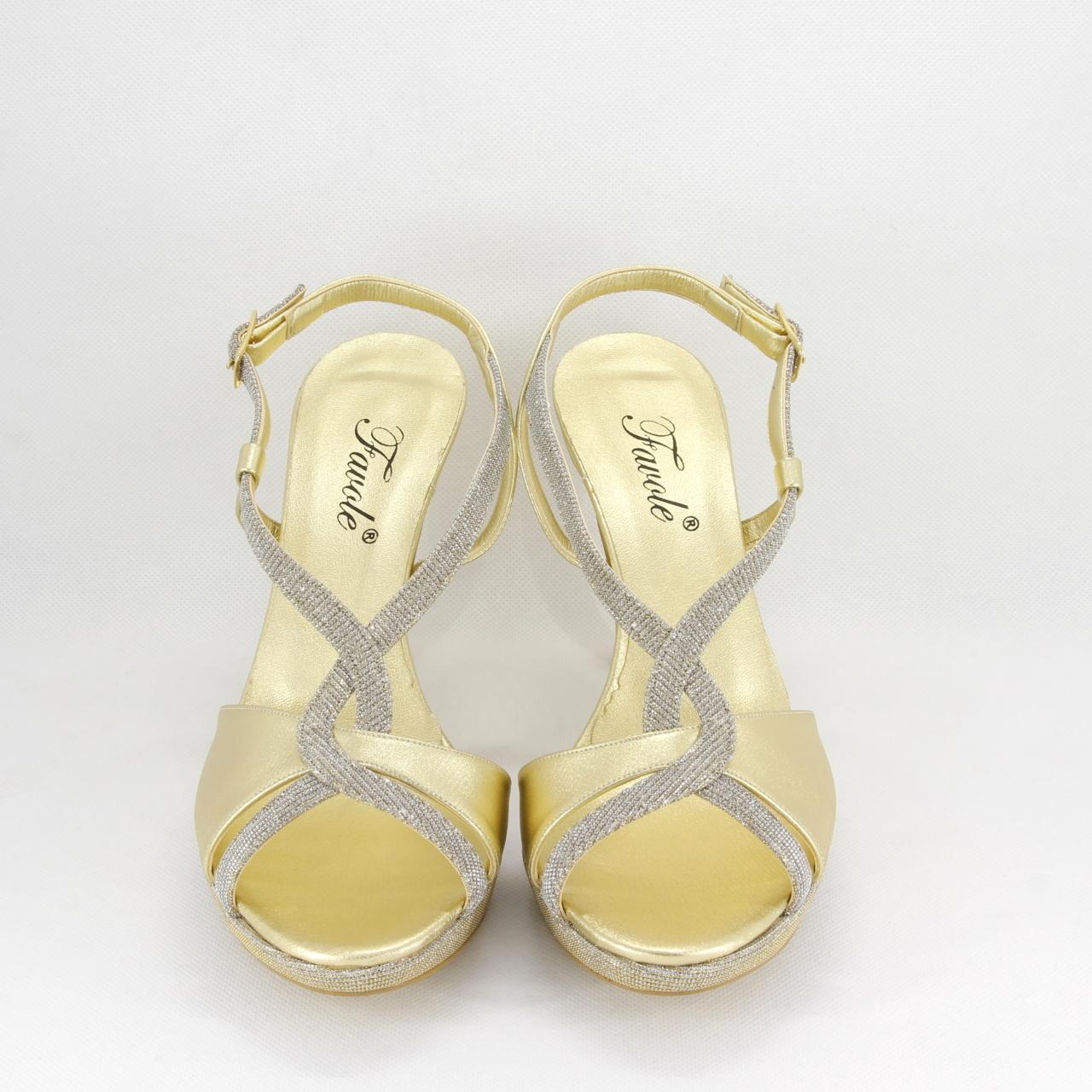 Sandalo donna elegante da cerimonia in tessuto glitter oro con cinghietta regolabile Art. A616 Gi. Effe Ci