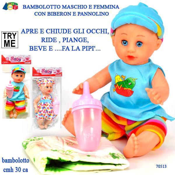 BAMBOLOTTO M/F,OCCHI MOBILI/VOCE- PILE INCL. 70513 GINMAR srl