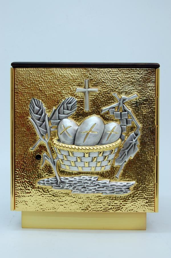 Tabernacolo in bronzo argentato 22 x 24,5 cm LOS4522
