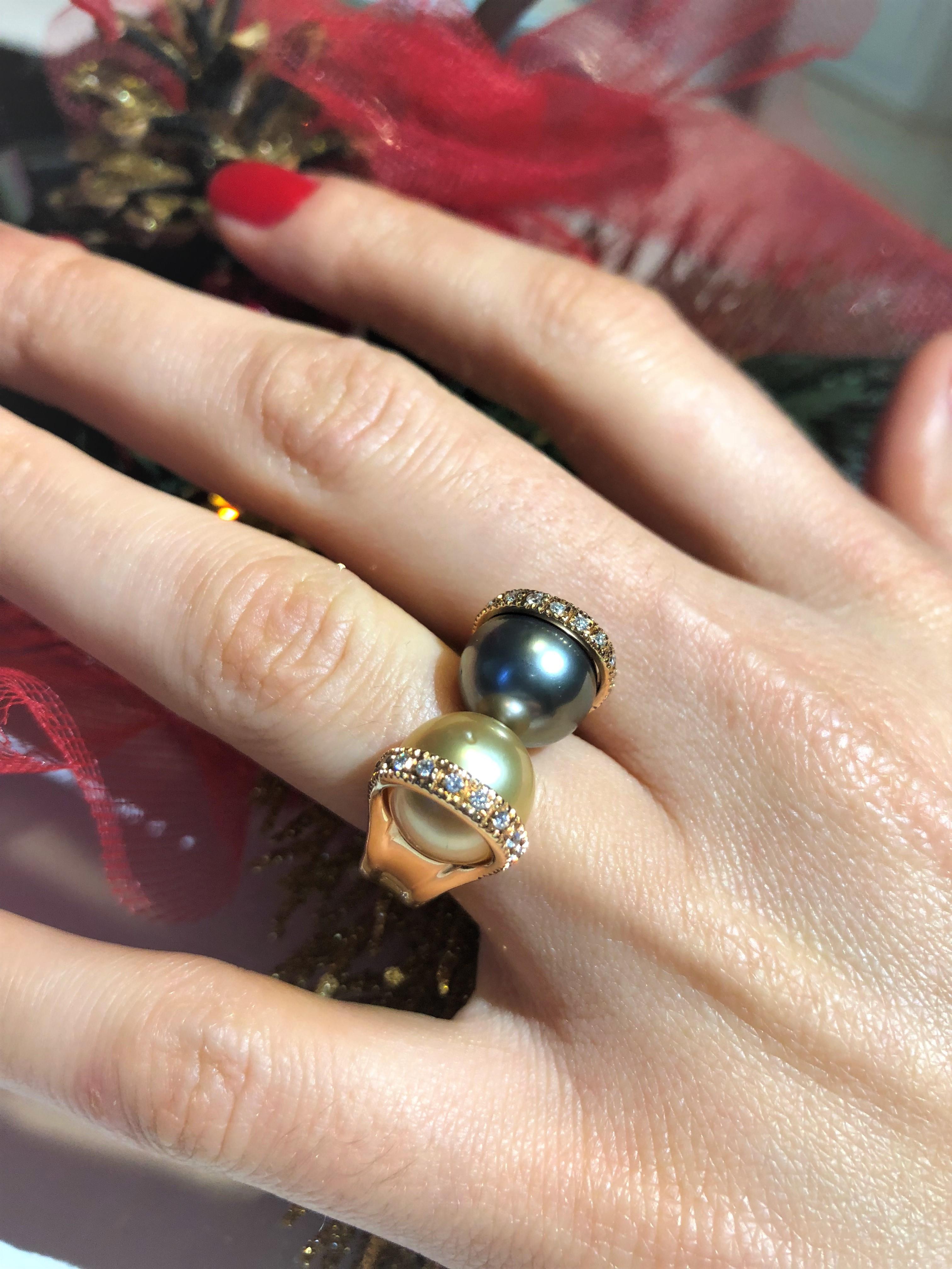 Anello Perla Au Gold e perla Tahiti