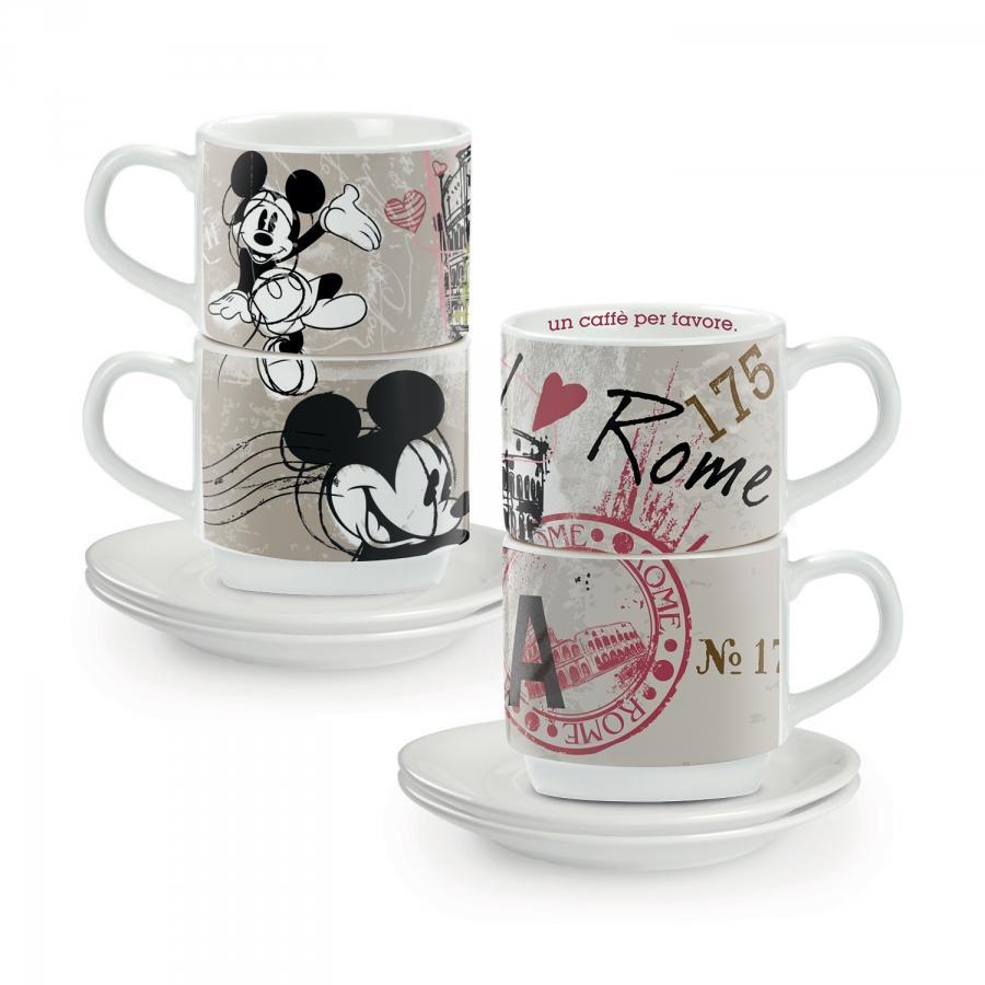 SET 2 TAZZINE CAFFE' IMPILABILI DISNEY-ROMA IN PORCELLANA, EGAN