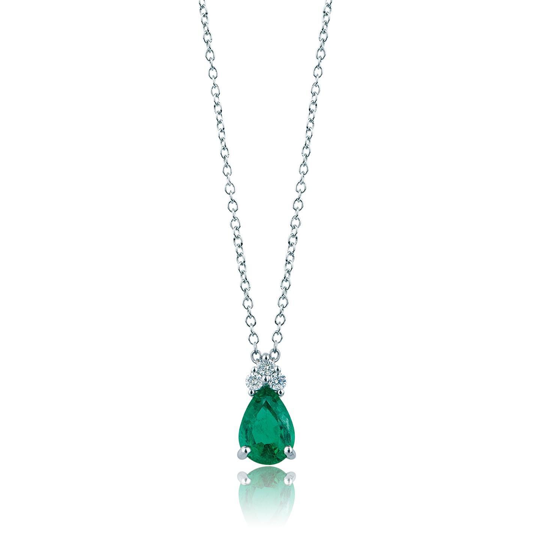Girocollo in Oro con Smeraldo e Brillanti