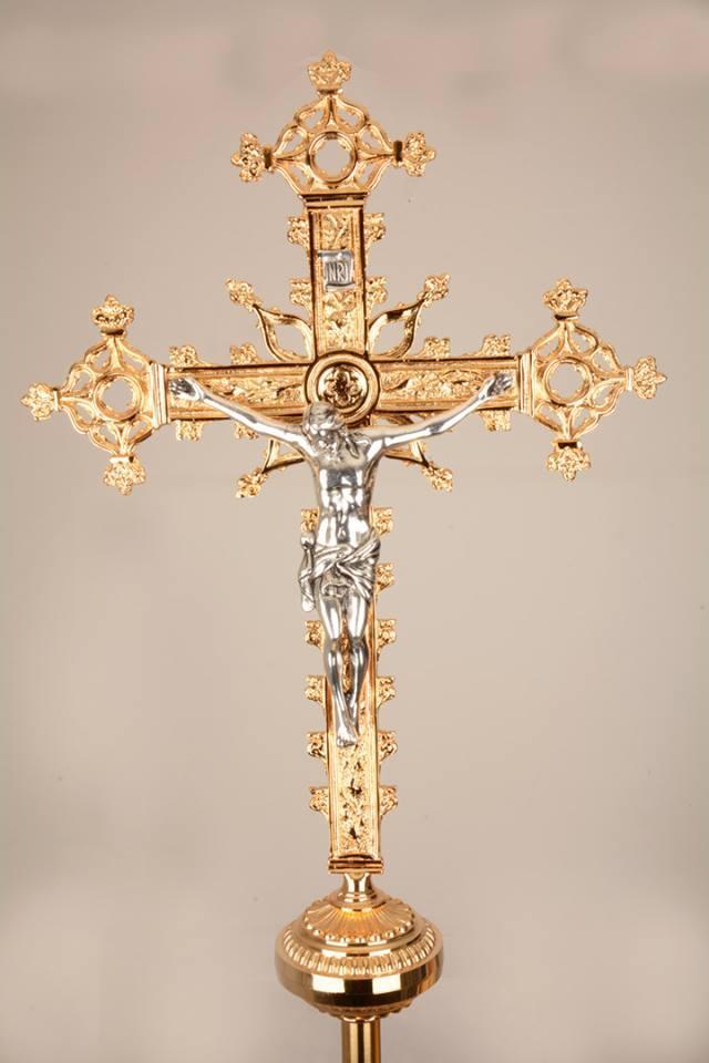 Croce astile in bronzo bicolore GALF2020